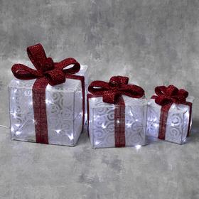 "Фигура текстиль ""Подарки белые"" 15х20х25 см, 60 LED, контр. 8 р., 220V, БЕЛЫЙ"