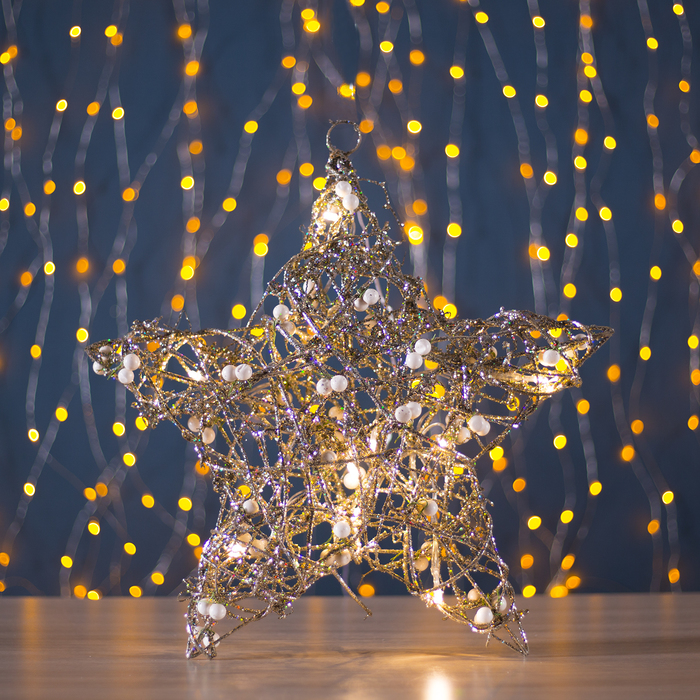 "Фигура пласт. ""Звезда с шариками"" 10х36х36 см,(3хАА не в компл.), 20 LED,ТЕПЛ. БЕЛЫЙ - фото 687149798"