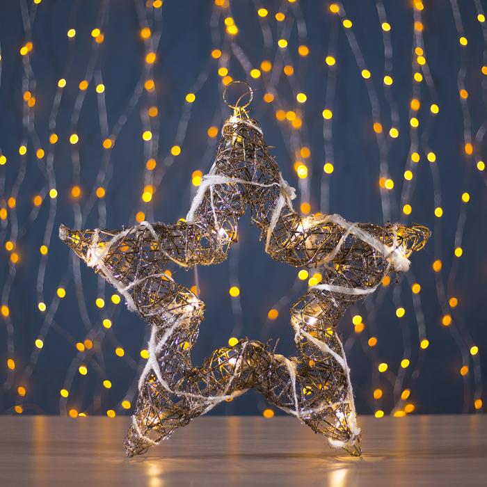 "Фигура дерев. ""Звезда из веток"" 5х40х40 см,(3хАА не в компл.), 20 LED,ТЕПЛ. БЕЛЫЙ"