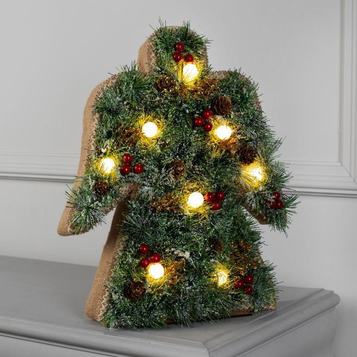 "Фигура дерев. ""Ангел хвоя"" 30х5х38 см, АА*3 (не в компл.), 8 LED, Т/БЕЛЫЙ - фото 725194007"