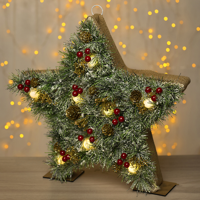 """Фигура дерев """"Звезда хвоя"""" 38х5х38 см (3xAA не в компл.) 8 LED, ТЕПЛО-БЕЛЫЙ"""