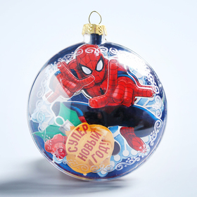 """Новогодний ёлочный шар """"С Новым годом"""" Человек-паук с 3D аппликацией"""