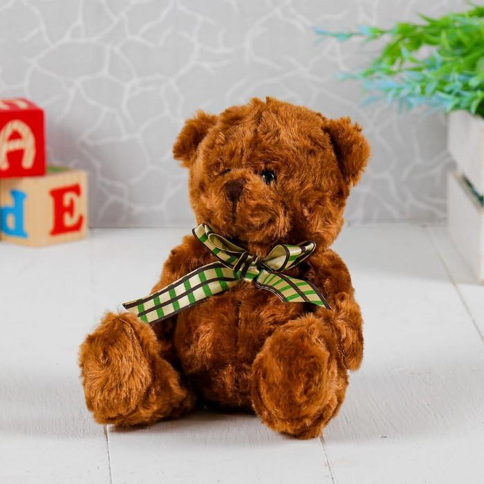 Мягкая игрушка «Медведь завиток», бант, клетка, цвета МИКС