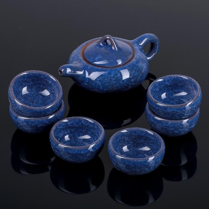 """Набор для чайной церемонии """"Искушение"""", 7 предметов: чайник 150 мл, 6 чашек 50 мл, цвет голубой"""