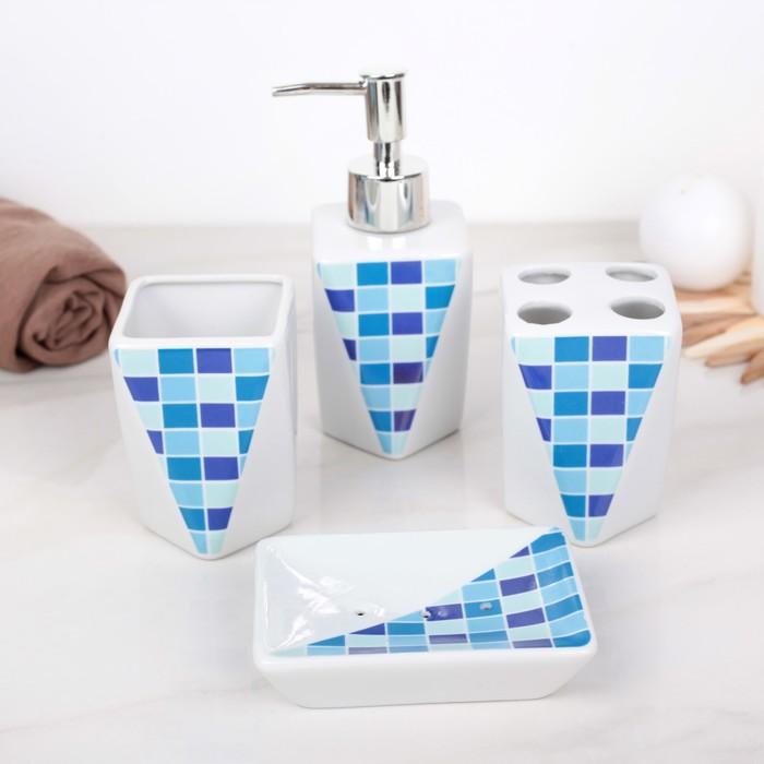 """Набор аксессуаров для ванной комнаты, 4 предмета """"Стразы. Серебро"""""""