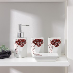 Набор аксессуаров для ванной комнаты «Роза», 4 предмета: дозатор 300 мл, мыльница, 2 стакана