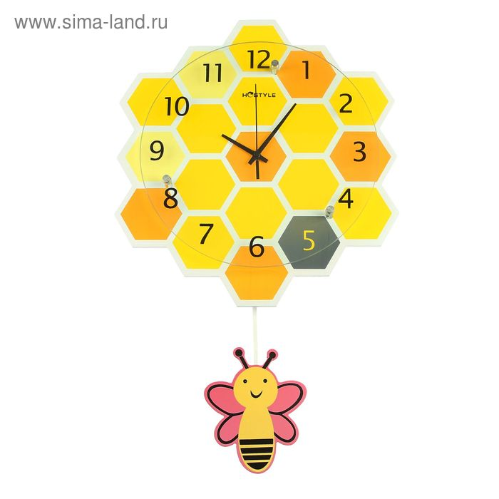 Часы настенные. d=29см Серия маятник. Соты с пчелкой 62*34см