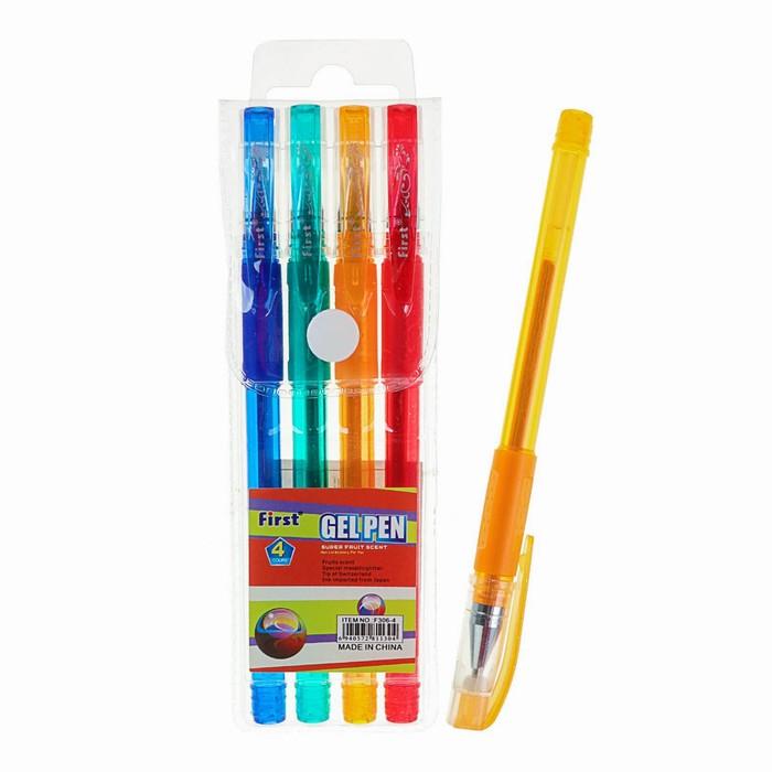 Набор гелевых ручек, 4 цвета, металлик, с блёстками, с резиновым держателем, в блистере на кнопке