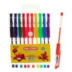 Набор гелевых ручек, 10 цветов, металлик, с блестками, с резиновым держателем, в блистере на кнопке