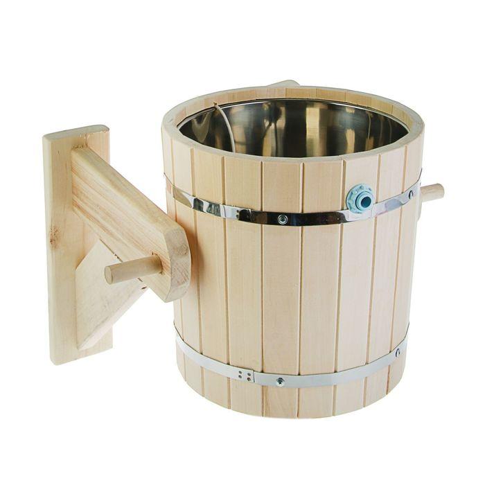 Обливное устройство 15л  с нержавеющей вставкой, липа, обод нержавеющая сталь ПРОМО