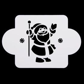 Трафарет пластик 'Дед Мороз с посохом' 10х10 см (МДНГ-54) Ош