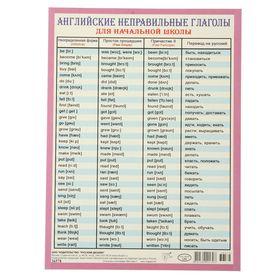 Карточка-шпаргалка 'Английские неправильные глаголы' А5 Ош