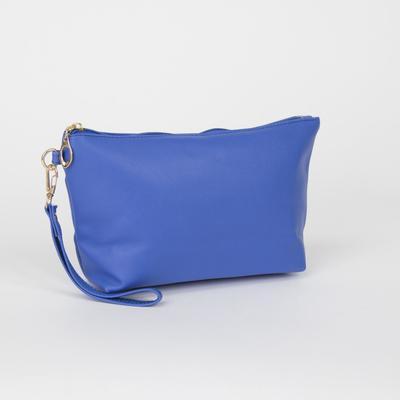 Women's clutch bag, division zipper, with handle, blue color