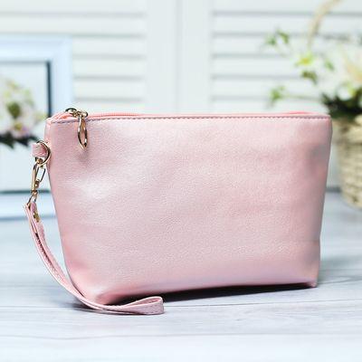 368a6554c9b5 Клатч женский, отдел на молнии, с ручкой, цвет розовый перламутровый