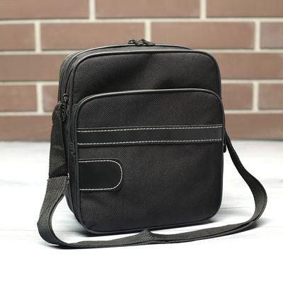 Планшет мужской, 3 отдела, наружный карман, регулируемый ремень, цвет чёрный