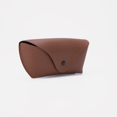 Футляр для очков Строчка, с разделителем, на клапане, 16*4*7,5см, коричневый