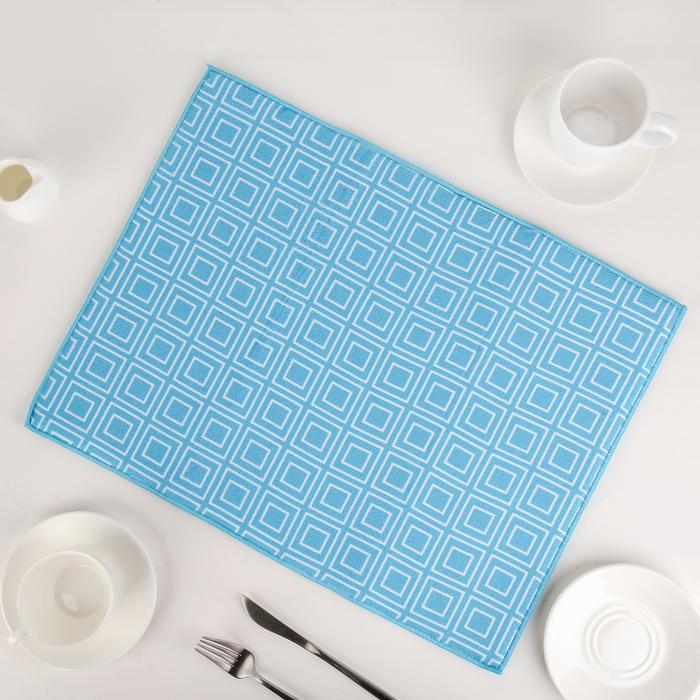 Салфетка для сушки посуды Доляна «Квадраты», 38×51 см, микрофибра, цвет голубой