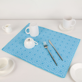 Mat for drying dishes 38x51 cm Square, blue