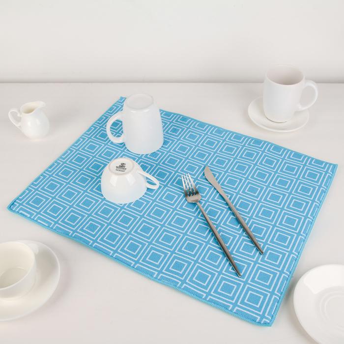 """Коврик для сушки посуды 38×51 см """"Квадраты"""", микрофибра, цвет голубой"""