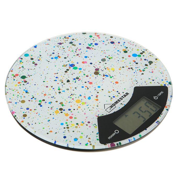 Весы кухонные электронные HOMESTAR HS-3007, до 7 кг, стекло мраморные