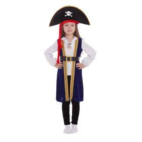 """Карнавальный костюм """"Пиратка в шляпе"""", рубашка, подвеска, камзол, леггинсы, ремень, шляпа, р-р 34, рост 134-140 см"""