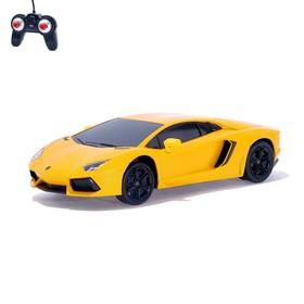 Машина радиоуправляемая Lamborghini Aventador, 1:24, работает от батареек, свет, цвет оранжевый
