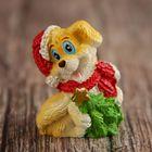 "Souvenir Polyresin ""Puppy in Christmas hat with Christmas tree"" MIX 3,5х3х2,1 cm"