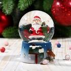 """Сувенир полистоун водяной шар """"Дед Мороз с воробушком"""" 6,5х4,5х4,5 см"""