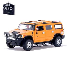 Машина радиоуправляемая Hummer H2, 1:14, работает от аккумулятора, свет, цвет оранжевый