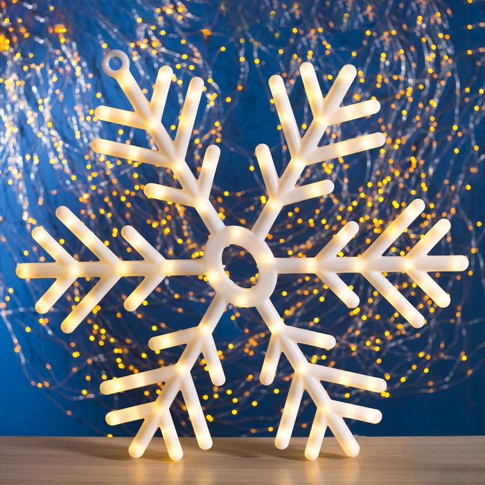 "Фигура ""Снежинка"" d=57 см, пластик, 88 LED, 220V, ТЕПЛЫЙ БЕЛЫЙ - фото 687149459"