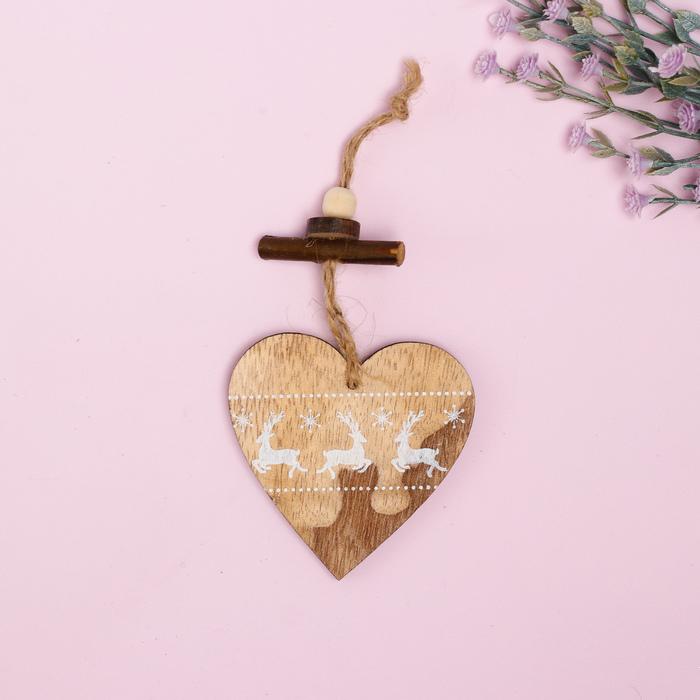 """Подвеска новогодняя """"Сердце с оленями"""""""