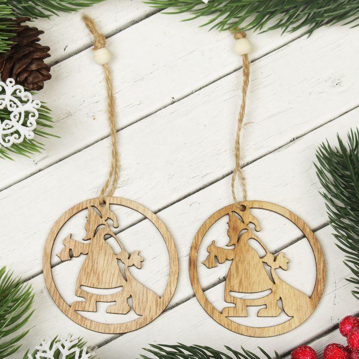 """Подвеска новогодняя """"Дед мороз к нам идёт"""", набор 2 шт."""