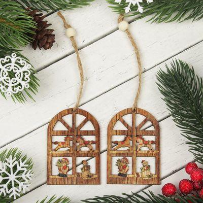 """Подвеска новогодняя """"Новогоднее окно"""", набор 2 шт."""