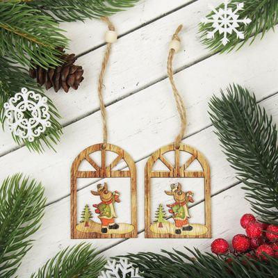 """Подвеска новогодняя """"Праздничный олень"""", набор 2 шт."""