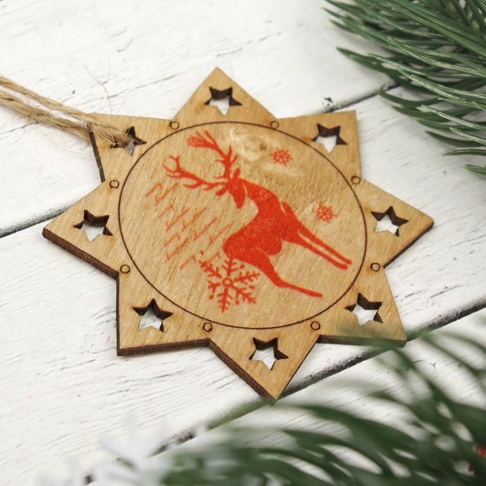 """Подвеска новогодняя """"Олень в зимнем лесу"""", набор 2 шт."""