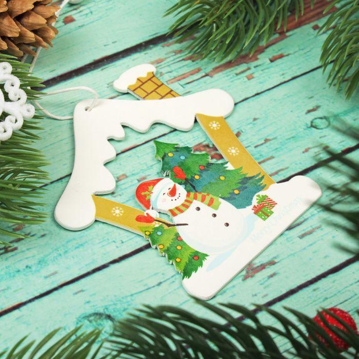 """Подвеска новогодняя """"Снеговик в домике"""", односторонняя"""