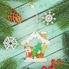 """Подвеска новогодняя """"Дед мороз в домике"""""""