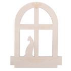 """Заготовка деревянная """"Кошка на окошке"""", 22 х 28 х 0,4 см"""