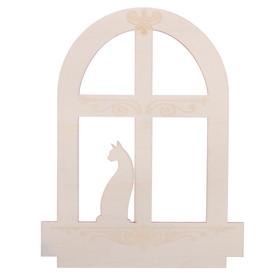 """Blank wooden """"Cat in the window"""", 22 x 28 x 0.4 cm"""