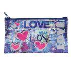 Пенал мягкий «Love граффити», для девочки, 1 отделение, плоский, 105х195 мм