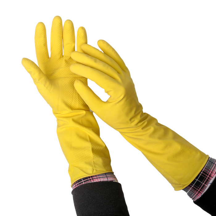Перчатки латексные с внутренним х/б напылением, размер S, Glov Professional, пара, цвет жёлтый, 50 г.