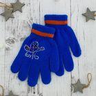 """Перчатки детские """"Блеск"""", размер 16, цвет синий/оранжевый, аппликация МИКС"""