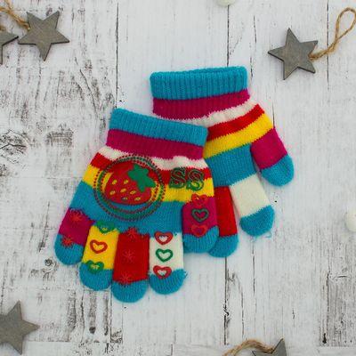 """Перчатки для девочки """"Клубника"""", размер 17, цвет голубой"""