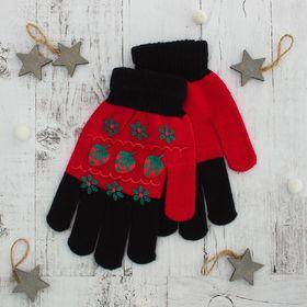 """Перчатки для девочки """"Клубничка"""", размер 16, цвет чёрный/красный"""