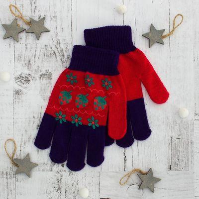 """Перчатки для девочки """"Клубничка"""", размер 16 (р-р произв. 8), цвет фиолетовый"""