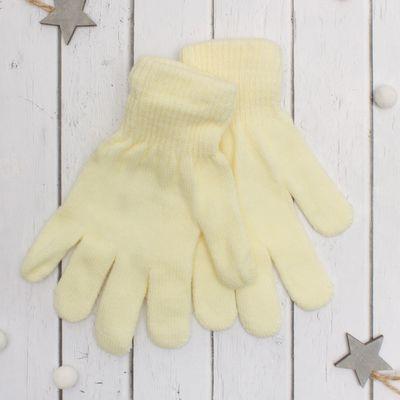 """Перчатки молодёжные """"Однотонные"""", размер 18, цвет экрю"""