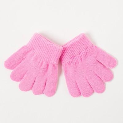 Перчатки одинарные детские, размер 12, цвет розовый 6с177/2_М