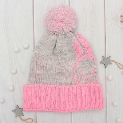 "Шапка двухслойная детская ""Зайка"", размер 50, цвет светло-серый меланж/розовый кс116"