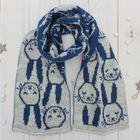 """Шарф жаккардовый детский """"Зайка"""", размер 130*19 см, цвет светло-серый меланж/синий к116_М"""