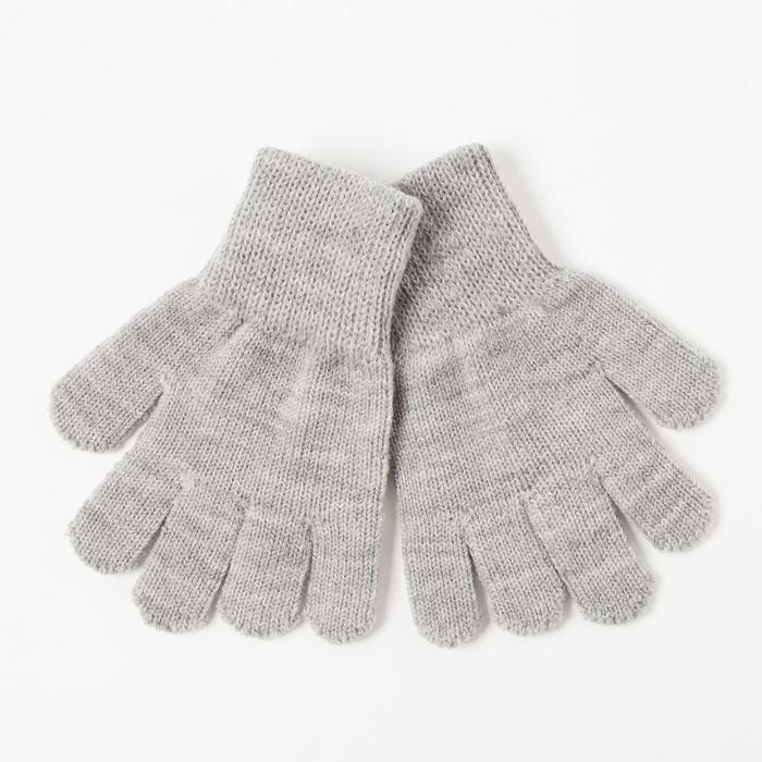 Перчатки одинарные для девочки, размер 14, цвет серый 6с177